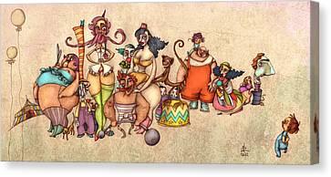 Bizarre Circus People Canvas Print by Autogiro Illustration