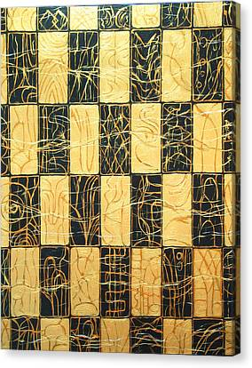 Black And Gold Japanese Checkered Pattern Canvas Print by Kazuya Akimoto