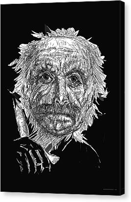 Black And White With Pen And Ink Drawing Of A Old Man  Canvas Print by Mario Perez