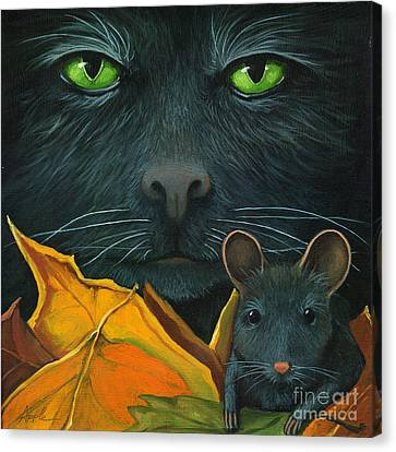Black Cat And Mouse Canvas Print by Linda Apple