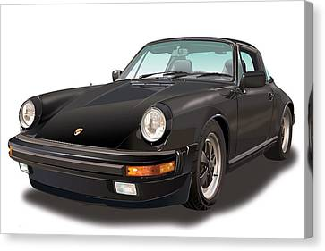 Black Porsche 911 Sc Targa  Canvas Print by Alain Jamar