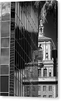 Blending Architecture Black And White Canvas Print by Phyllis Denton