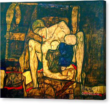 Blind Mother By Egon Schiele Canvas Print by Pg Reproductions