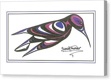 Blue And Purple Humming Bird Canvas Print by Speakthunder Berry