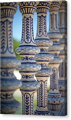 Blue And White Ceramic Fence Canvas Print by Kim Haddon Photography
