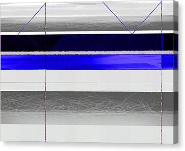 Blue And White Stripes Canvas Print by Naxart Studio