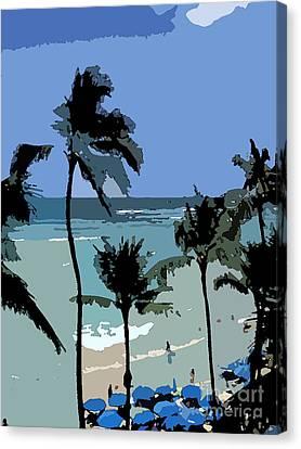 Blue Beach Umbrellas Canvas Print by Karen Nicholson