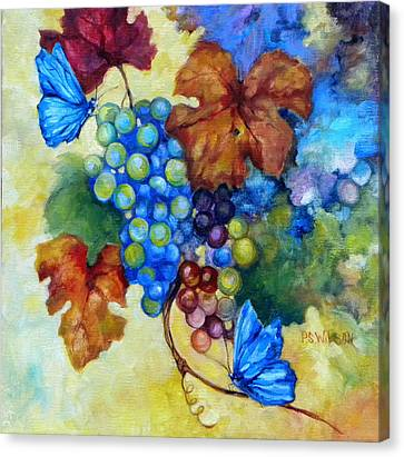 Blue Butterflies And Grapevine  Canvas Print by Peggy Wilson