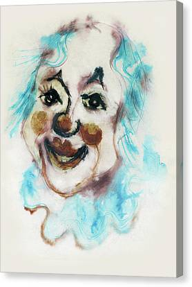 Blue Collar Clown Face With Red Nose And Lips Raised Eyebrows Smile   Canvas Print by Rachel Hershkovitz