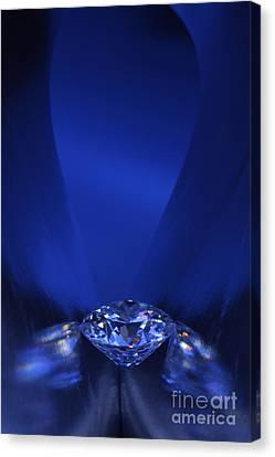 Blue Diamond In Blue Light Canvas Print by Atiketta Sangasaeng