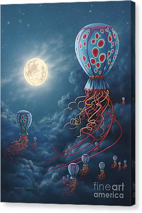 Blue Floaters Canvas Print by Lynette Cook