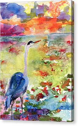Blue Heron Sunset Watercolor By Ginette Canvas Print by Ginette Callaway
