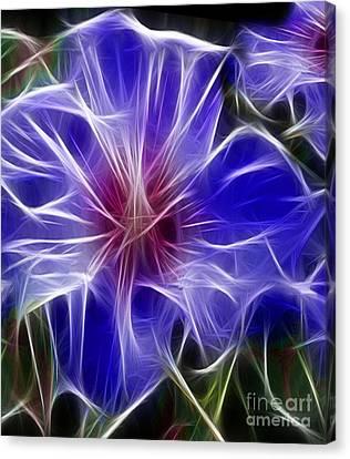 Blue Hibiscus Fractal Panel 3 Canvas Print by Peter Piatt