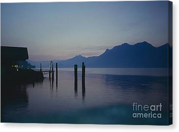 Blue Hour At Dawn On Lago Maggiore Canvas Print by Heiko Koehrer-Wagner