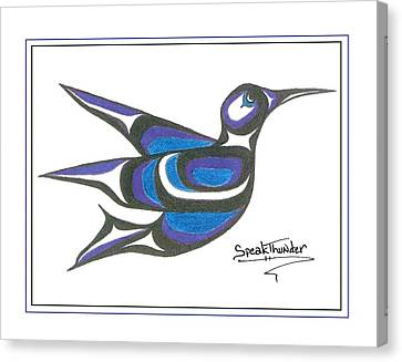 Blue Humming Bird Canvas Print by Speakthunder Berry