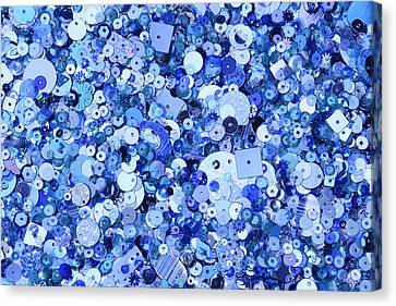 Blue Sequins Of Various Shapes And Sizes Canvas Print by Andrew Paterson