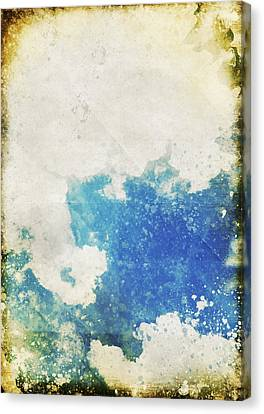 Blue Sky And Cloud On Old Grunge Paper Canvas Print by Setsiri Silapasuwanchai