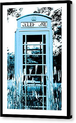 Blue Telephone Booth In A Field In Maine Canvas Print by Kara Ray