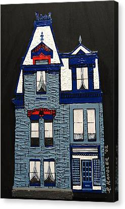 Blue Victorian Mansion Montreal Canvas Print by Robert Handler