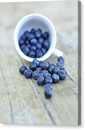 Blueberries In Cup Canvas Print by Anna Hwatz Photography Find Me On Facebook