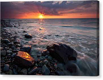 Bluffs Beach Sunset 1 Canvas Print by Darren Creighton