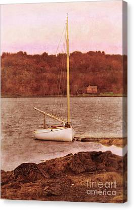 Boat Docked On The River Canvas Print by Jill Battaglia