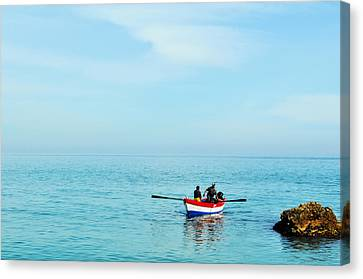 Boat On The Mediterranean Sea Canvas Print by Mary Machare