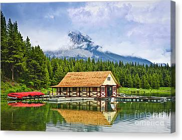 Boathouse On Mountain Lake Canvas Print by Elena Elisseeva