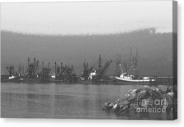 Boats In Harbor Charcoal Canvas Print by Chalet Roome-Rigdon