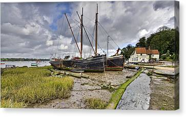 Boats On The Hard At Pin Mill Canvas Print by Gary Eason