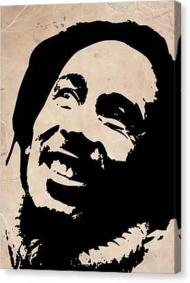 Bob Marley Grey And Black Canvas Print by Naxart Studio