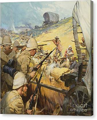 Boer War Skirmish Canvas Print by James Edwin McConnell