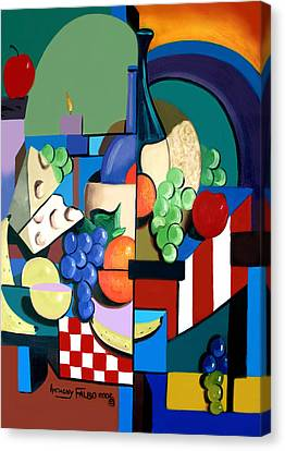 Bottle Of Wine Fruit Of The Vine Canvas Print by Anthony Falbo
