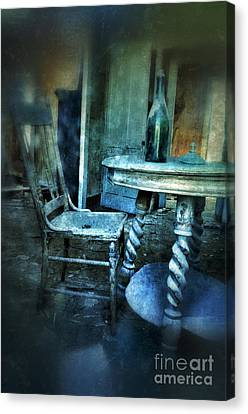 Bottle On Table In Abandoned House Canvas Print by Jill Battaglia