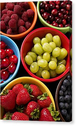 Bowls Of Fruit Canvas Print by Garry Gay