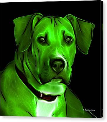 Boxer Pitbull Mix Pop Art - Green Canvas Print by James Ahn