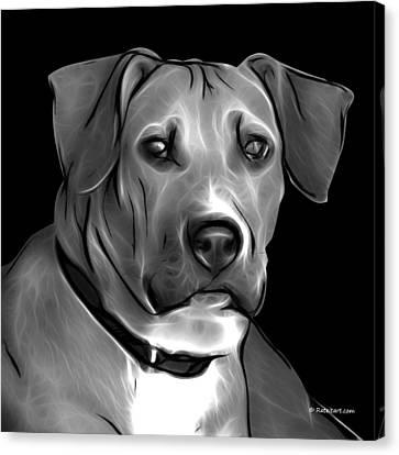 Boxer Pitbull Mix Pop Art - Greyscale Canvas Print by James Ahn