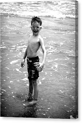 Boy At The Ocean 2 Canvas Print by Kelly Hazel