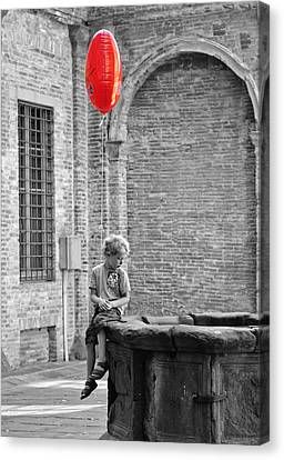 Boy With Red Balloon Canvas Print by Michael Avory
