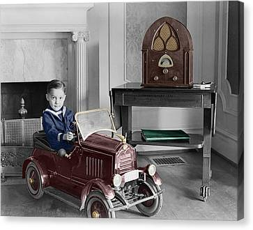 Boy With Toy Car Canvas Print by Andrew Fare