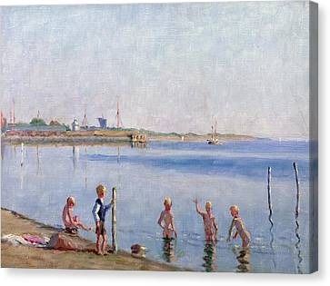 Boys At Water's Edge Canvas Print by Johan Rohde