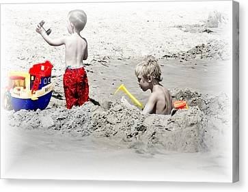 Boys Will Be Boys At The Beach Nj Canvas Print by Gwenn Dunlap