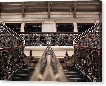 Brass Rail Reflection Canvas Print by Peter Chilelli