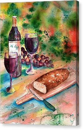 Bread And Wine Canvas Print by Sharon Mick