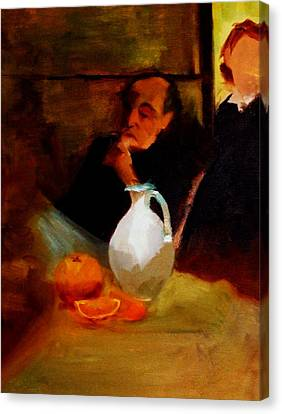 Breaktime With Oranges And Milk Jug Man Deep In Philosophical Thought With Mysterious Boy Servant Canvas Print by M Zimmerman MendyZ