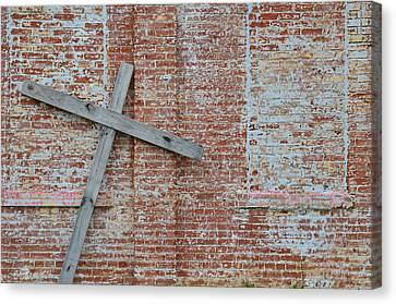Brick Wall Cross Canvas Print by Nikki Marie Smith