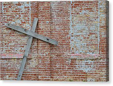 Brick Wall Cross Canvas Print by Nikki Marie Smith