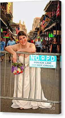 Bride And The Barricade On Bourbon Street Canvas Print by Kathleen K Parker