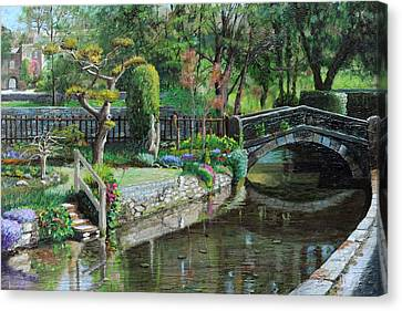 Bridge And Garden - Bakewell - Derbyshire Canvas Print by Trevor Neal