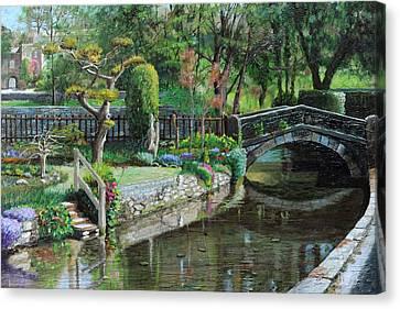 Bridge And Garden - Bakewell - Derbyshire Canvas Print by Trevor Neal